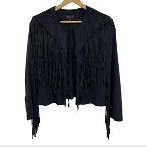 Baccini Black Fringe Jacket Women's Sz Lg